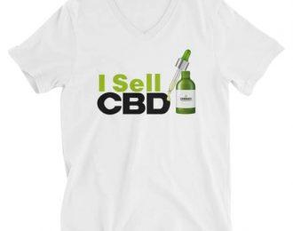 CBD Unisex Short Sleeve V-Neck T-Shirt Green