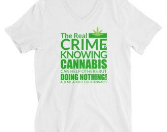 CBD Unisex Short Sleeve V-Neck T-Shirt Real Crime