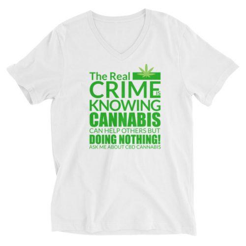 Ask Me About CBD Cannabis V-Neck Shirt