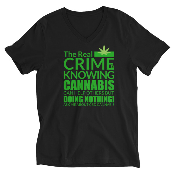 Ask Me About CBD Cannabis V-Neck Shirts
