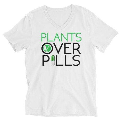 Plants Over Pills V-Neck Shirts