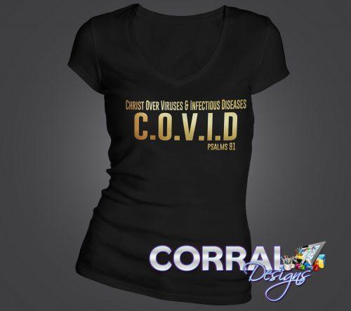 Christ over COVID Gold Vinyl TShirt